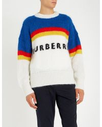 Burberry - Osbourne Logo-intarsia Mohair-blend Jumper - Lyst