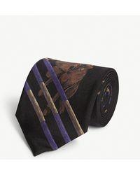 Ralph Lauren Purple Label Equestrian Print Silk Tie - Black