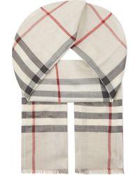 Burberry - Giant Check Metallic Silk & Wool Scarf - Lyst
