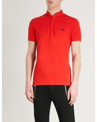 The Kooples - Officer-collar Cotton Polo Shirt - Lyst