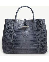 Longchamp - Roseau Medium Crocodile-embossed Leather Tote - Lyst
