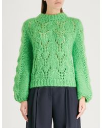 Ganni - Julliard Cable-knit Mohair And Wool-blend Jumper - Lyst