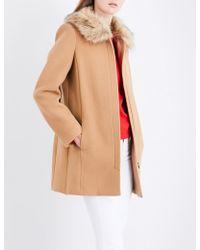 Claudie Pierlot | Faux-fur Collar Wool And Cashmere Blend Coat | Lyst