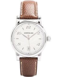 Montblanc - 108762 Star Stainless Steel And Leather Watch - Lyst