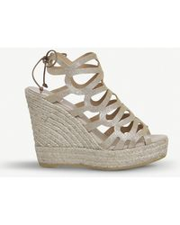 Office - Berti Metallic-leather Wedge Sandals - Lyst