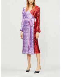 Kitri - Alyssa Two-tone Sequin-embellished Wrap Dress - Lyst