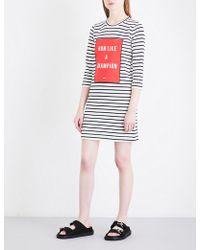Mo&co. - Text-print Striped Knitted Mini Dress - Lyst