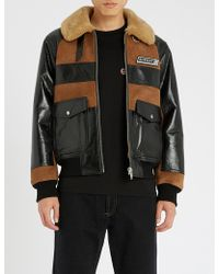 Givenchy - Logo-patch Suede And Shearling Jacket - Lyst