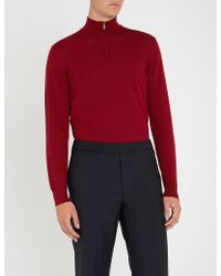 Emporio Armani - Zipped Funnel-neck Wool Jumper - Lyst