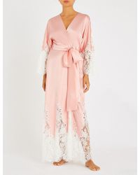 Rosamosario - Lace-trimmed Silk-satin Robe - Lyst e79514c09