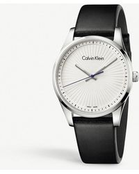 CALVIN KLEIN 205W39NYC - K8s211c6 Steadfast Stainless Steel And Leather Watch - Lyst