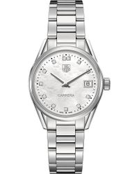 Tag Heuer - War1314.ba0773 Carrera Stainless Steel And Mother-of-pearl Watch - For Women - Lyst