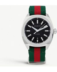 a60f81f7bb8 Lyst - Gucci Interlocking 42mm Leather And Nylon Strap Watch ...