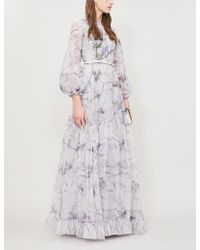 Costarellos - Floral-embroidered Organza Gown - Lyst