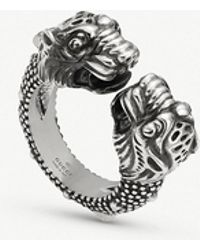 Gucci - Garden Tiger Sterling Silver Ring - Lyst