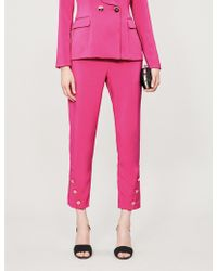Lavish Alice - Buttoned-cuff Cropped High-rise Crepe Trousers - Lyst