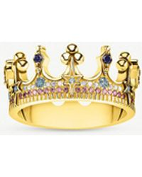 Thomas Sabo - Kingdom Of Dreams 18ct Yellow Gold Plated Silver Crown Ring - Lyst