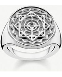 Thomas Sabo - Vintage Compass Sterling Silver And Diamond Signet Ring - Lyst