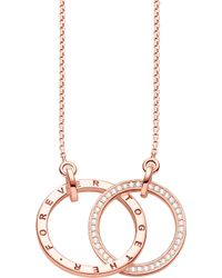 Thomas Sabo - Together 18ct Rose Gold-plated Sterling Silver And Crystal Necklace - Lyst