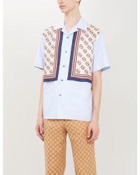 050d04f65 Gucci Diamond-print Silk-twill Bowling Shirt in Red for Men - Lyst