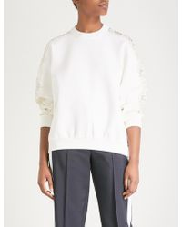 Givenchy - Lace-panel Wool-blend Jumper - Lyst