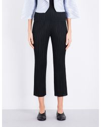 Pleats Please Issey Miyake - Cropped Slim Pleated Trousers - Lyst