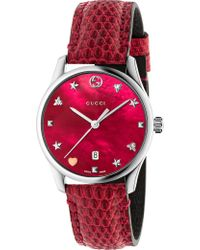 Gucci - Ya126585 G-timeless Mother-of-pearl And Lizard-leather Strap Quartz Watch - Lyst