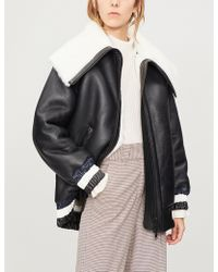 House of Holland - Oversized Leather And Shearling Jacket - Lyst