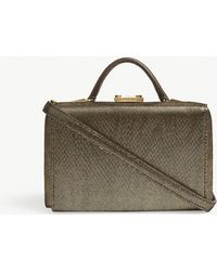 Mark Cross - Metallic Moire Gold Timeless Grace Mini Leather Box Clutch Bag - Lyst