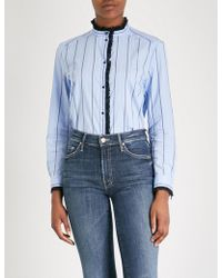 Sandro - Lace-trimmed Striped Cotton-blend Shirt - Lyst