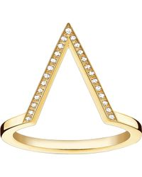 Thomas Sabo - Triangle 18ct Yellow Gold-plated Diamond Ring - Lyst