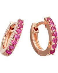 Astley Clarke - Mini Halo 14ct Rose-gold Pink Sapphire Hoop Earrings - Lyst