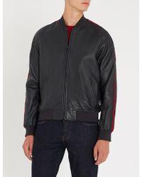 Emporio Armani - Striped-panel Leather Bomber Jacket - Lyst