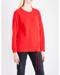 5cm - Lace-up Cotton-jersey Sweatshirt - Lyst