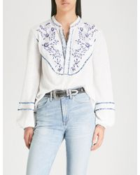 Free People - Sundance Embroidered Jersey Blouse - Lyst