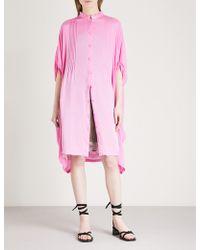 Limi Feu - Pleated-detail Silk Shirt Dress - Lyst