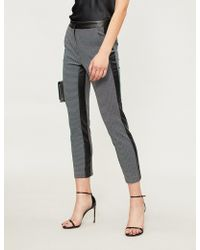 Pinko - Trancia Houndstooth Tapered Cropped Woven Trousers - Lyst