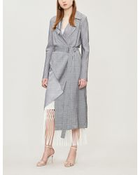Dion Lee - Checked Asymmetric Woven Trench Coat - Lyst