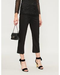 Pinko - Oleandro Tapered Cropped Crepe Trousers - Lyst