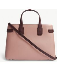 940bf7cefd4f Burberry - Dusty Rose Pink And Claret Red Check Banner Grained Leather Tote  Bag - Lyst