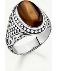 Thomas Sabo - Rebel At Heart Sterling Silver And Tiger's Eye Signet Ring - Lyst