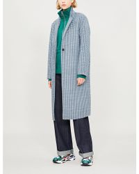 Sandro - Breve Check-print Wool Duster Coat - Lyst