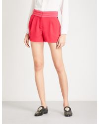The Kooples - Pleated-detail Crepe Shorts - Lyst