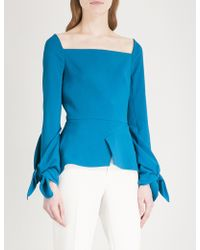 Roland Mouret - Wicklow Ruched-sleeve Crepe Top - Lyst