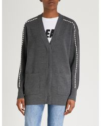 Sandro - Pearl-trimmed Wool-blend Cardigan - Lyst