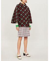 Gucci - Logo Wool-jacquard Cape Coat - Lyst