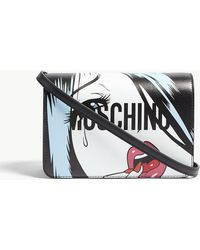 Moschino - Face Logo Leather Shoulder Bag - Lyst