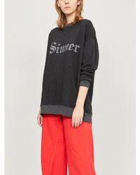 Wildfox - Sinner Slogan-print Cotton-jersey Sweatshirt - Lyst