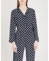 Claudie Pierlot - Heart-print Crepe Shirt - Lyst