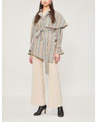 Awake - Draped-panel Gingham-print Cotton-blend Jacket - Lyst